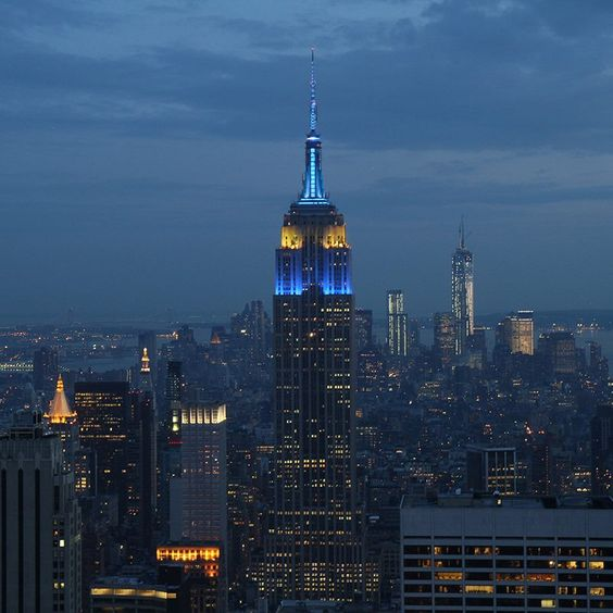The night view of Empire State Building seen from Top of the Rock