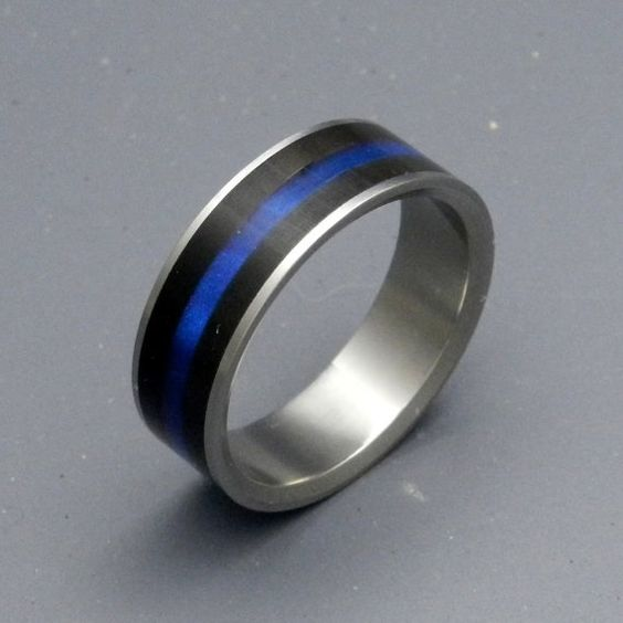 Fiances Wedding Band Police Thin Blue Line Wedding