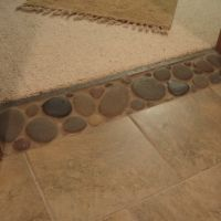 Image Result For Pebble Tile As Transition Between Tile And Wood Hide Height Difference