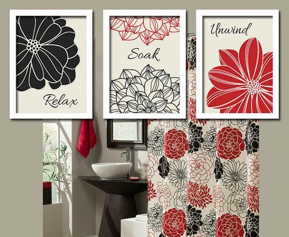 black red bathroom wall art canvas or prints bathroom on bathroom wall decor id=35134
