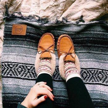 Snowy days call for cozy slippers. : @brittneygarber #myminnetonka #regram #slippers: