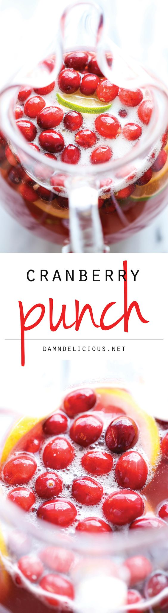 Alcohol Free Cranberry Party Punch Recipe via Damn Delicious - A super easy, refreshing drink so perfect for the holidays! The BEST Easy Non-Alcoholic Drinks Recipes - Creative Mocktails and Family Friendly, Alcohol-Free, Big Batch Party Beverages for a Crowd!