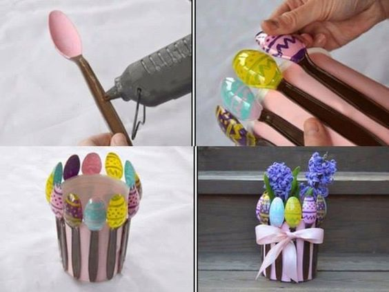 10 clever crafts using plastic spoons - Spring vase
