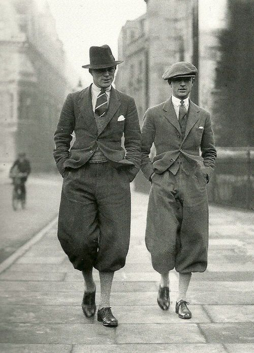 Cambridge Undergraduates c. 1926. Plus fours...note how wide they are at the knee....we still make PROPER! Plus fours at Rhodes-Wood, Harrogate: