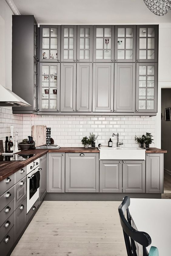 Inspiring Kitchens You Won't Believe are IKEA - Bodbyn cabinet fronts give this IKEA kitchen from Entrance a more traditional look.: