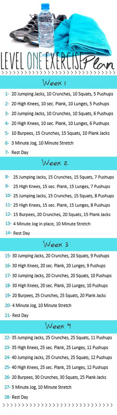 Level one exercise plan, snag a PDF download of this routine on my blog.: