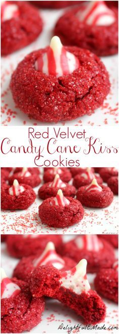 Red Velvet Candy Cane Kiss Cookies by Coffee Mounds Lipstick Clouds