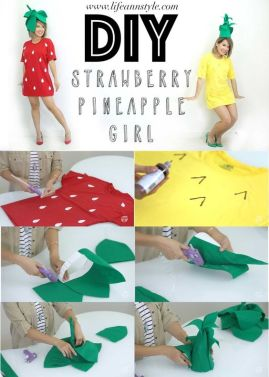 MUSUES COSTUME___Transform your Tee Shirts into Strawberry & Pineapple Costumes! Super Cute DIY for Halloween. Tee shirt Hack: