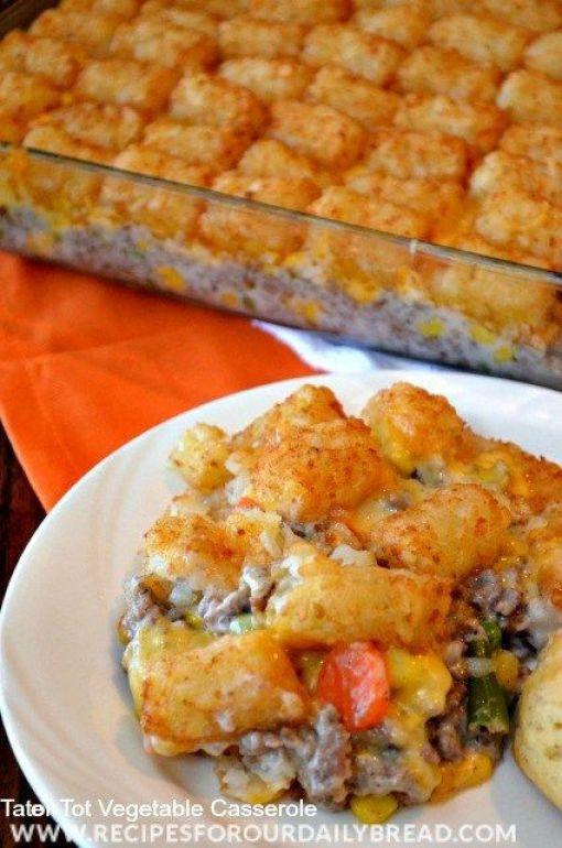Tator Tot Vegetable #Casserole #Recipe - Everyone has this Tator Tot Casserole recipe. So, why did I write about it. #Tater Tot Vegetable Casserole: