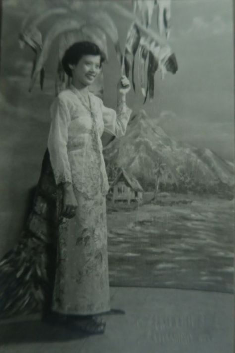 My late Aunty Noni, dressed in Sarong Kebaya. Ca. 1950.