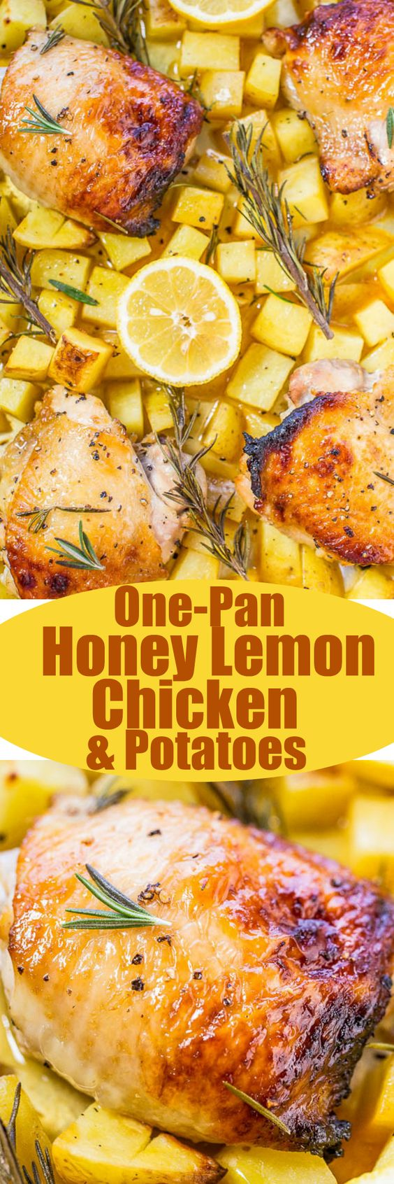 One Sheet Pan Honey Lemon Chicken and Roasted Potatoes Recipe via Averie Cooks - Juicy chicken with a honey lemon glaze that's tangy-sweet and so good!! Healthy, fast, so easy, and cleanup is a breeze!!