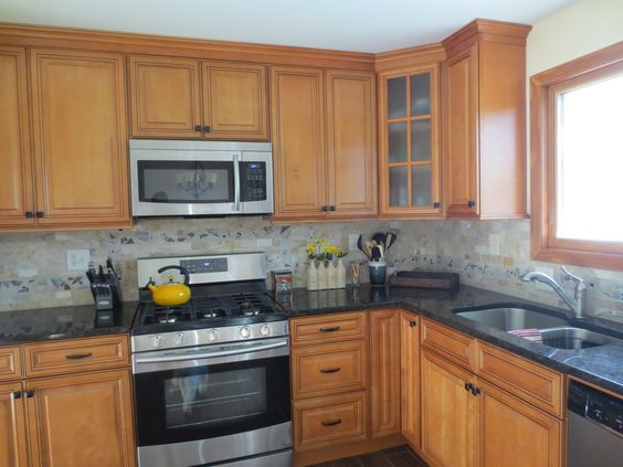 Kitchen remodel with maple cabinets, Golden Eye granite ... on Kitchen Tile Backsplash Ideas With Maple Cabinets  id=21143