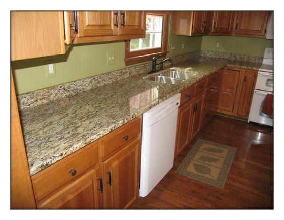 Santa Cecilia granite + maple cabinets. I like the wall ... on Best Granite Color For Maple Cabinets  id=41729