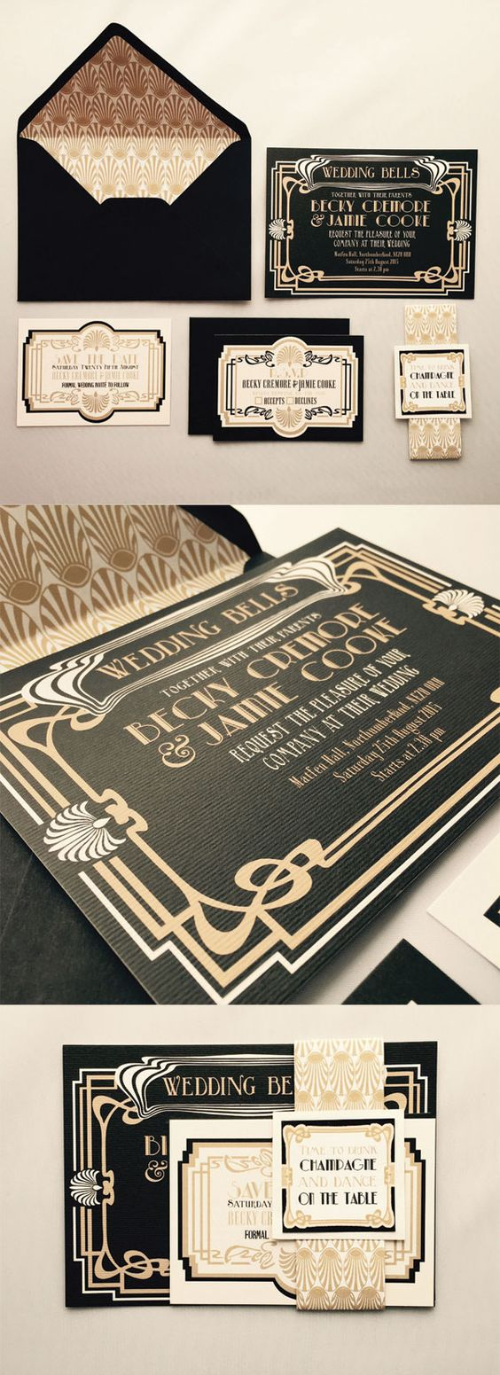 Art Deco wedding invitations. These pretty black and gold ...