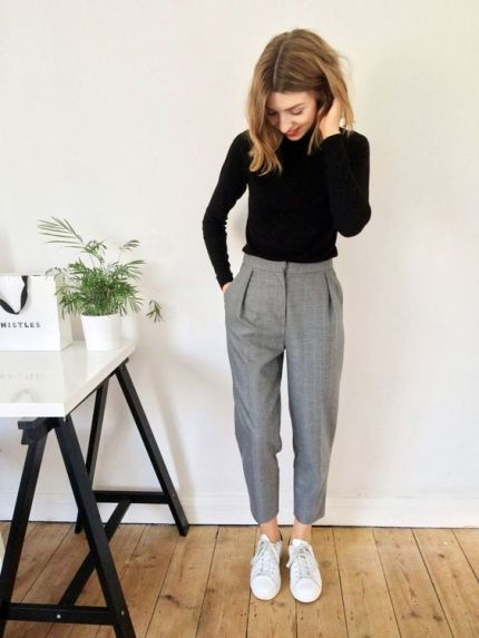 cropped tailored trousers, roll neck jumper, converse white: