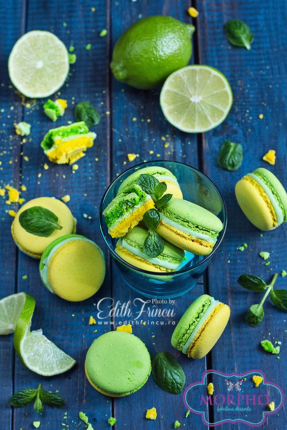 Mojito Macarons via https://www.facebook.com/pages/MORPHO-Fabulous-Desserts-Macarons/631653826886239: