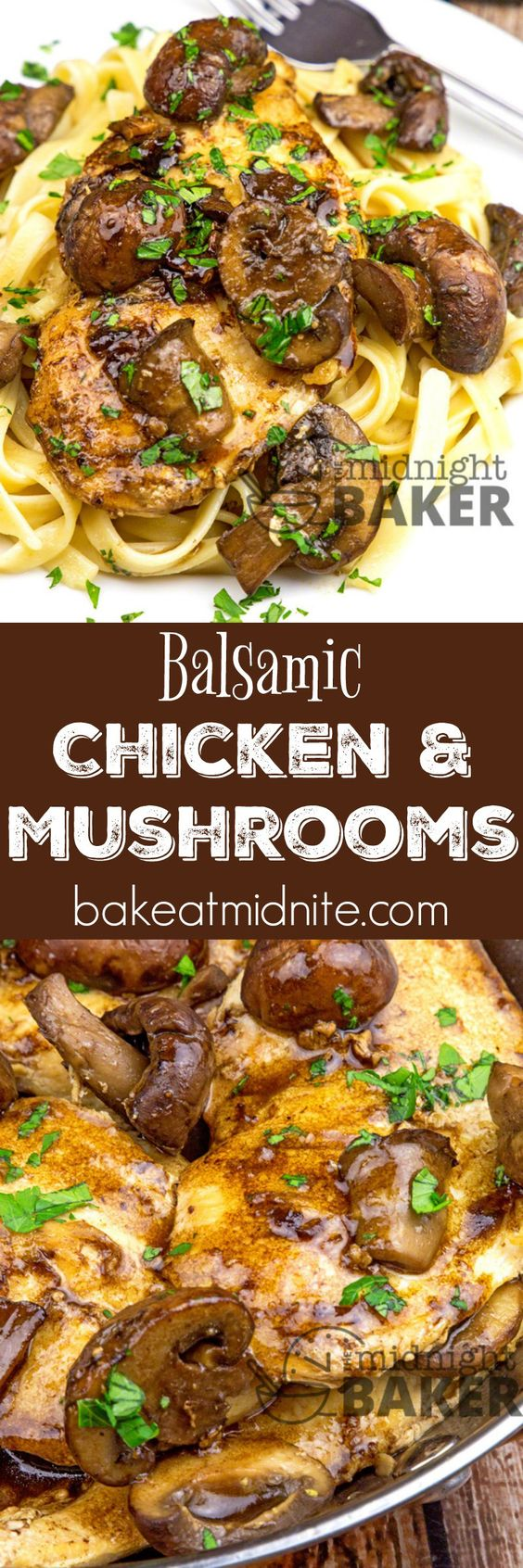 30 Minute Balsamic Chicken & Mushrooms Dinner Recipe via Midnight Baker - Delicious restaurant-quality balsamic chicken dinner ready in under 30 minutes! - The BEST 30 Minute Meals Recipes - Easy, Quick and Delicious Family Friendly Lunch and Dinner Ideas