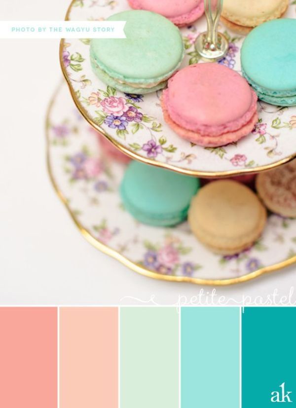 a pastel-macaron-inspired color palette // coral, peach, mint, aqua // photo by The Wagyu Story: