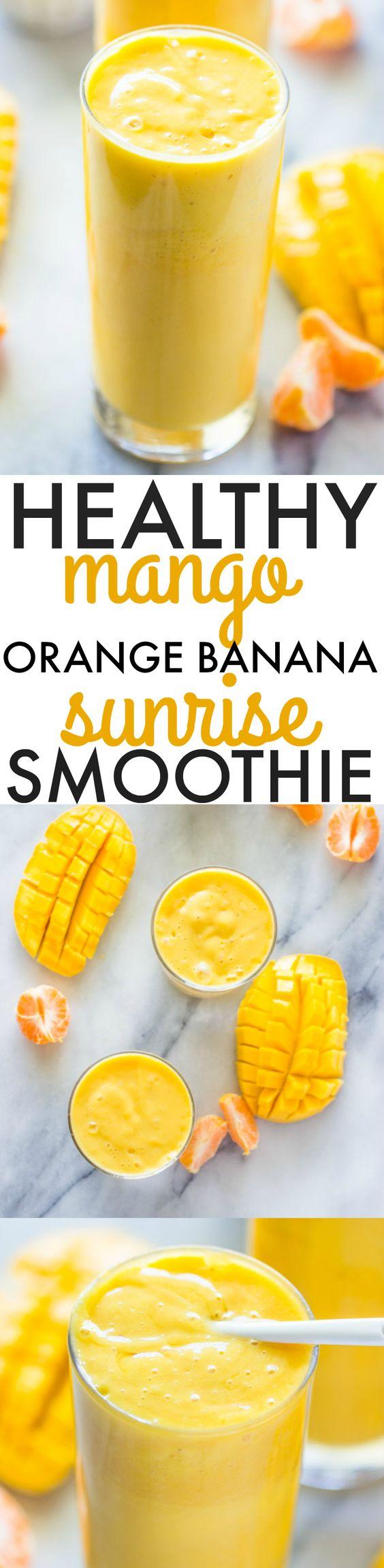 Healthy Mango Orange Banana Sunrise Smoothie Recipe via Gimme Delicious