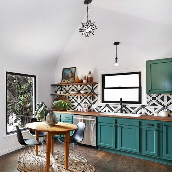 Unexpected Colorful Kitchens roundup from designer Lesley Myrick | Teal cabinets with black and white Moroccan tile:
