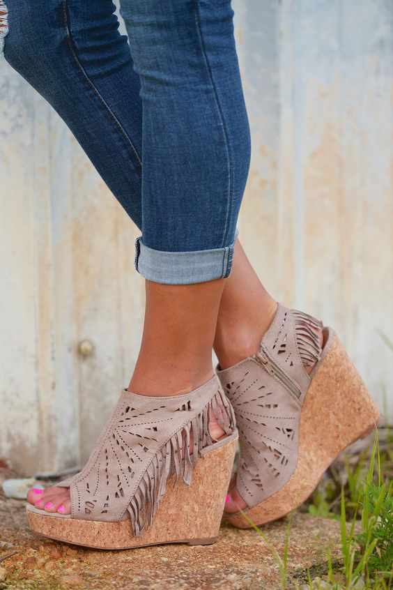 Fringe Delight Wedge - Taupe from Closet Candy Boutique Code REPJENNIFER=10% off and FREE shipping!: