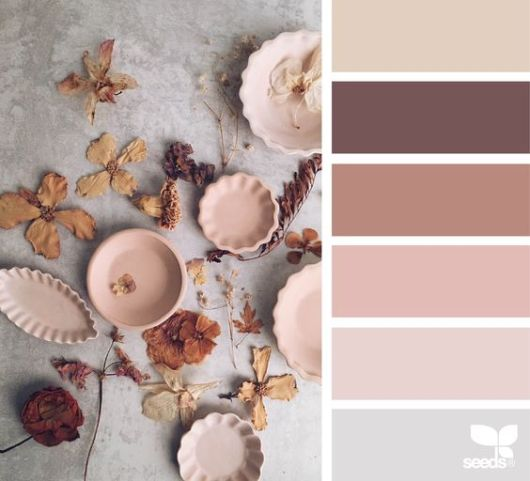 ...blush, mauve, hint of pale grey blue with taupe or brown...: