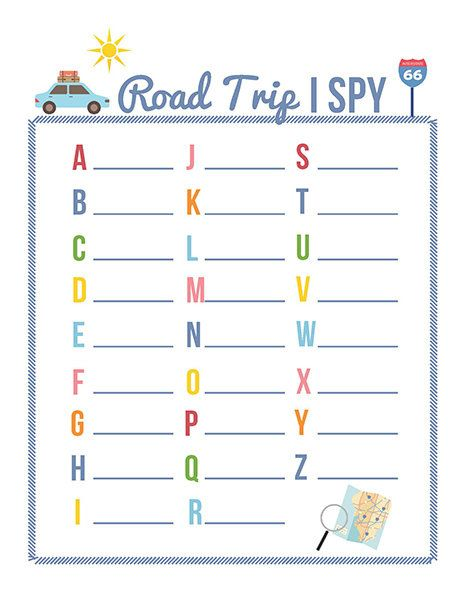 Road Trip I SPY Game Printable | iMOM - Here are three printable road trip games - Road Trip I Spy, Road Trip Bingo, and the Road Trip License Plate Game.