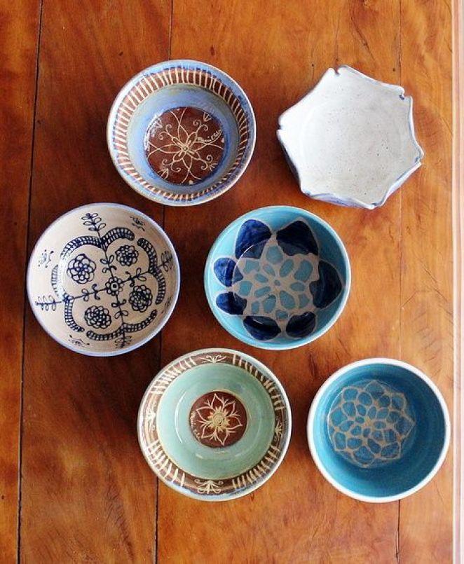 Cumbuca artesanal de cerâmica Batik: