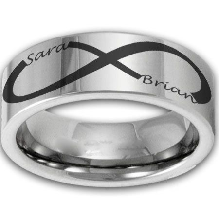 8MM Wide Custom Infinity Symbol Tungsten Ring W Two Name