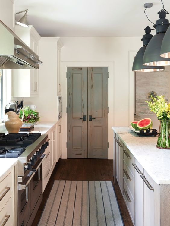 Antique doors in the kitchen - add character.:
