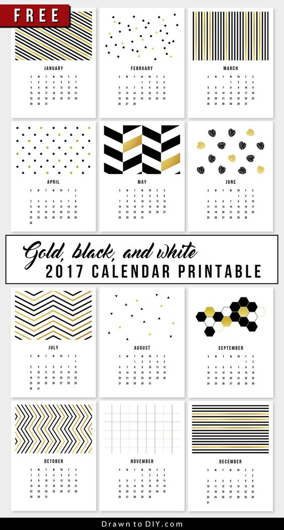 Gold, Black and White Free 2017 Calendar Printables via DrawntoDIY