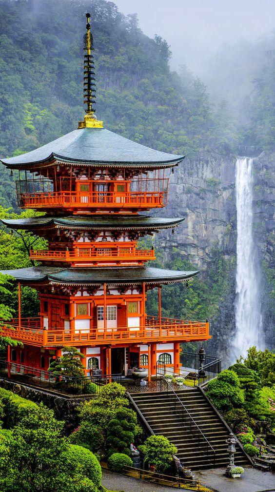 The pagoda of Seigantoji and Nachi no Taki Waterfall, Japan: