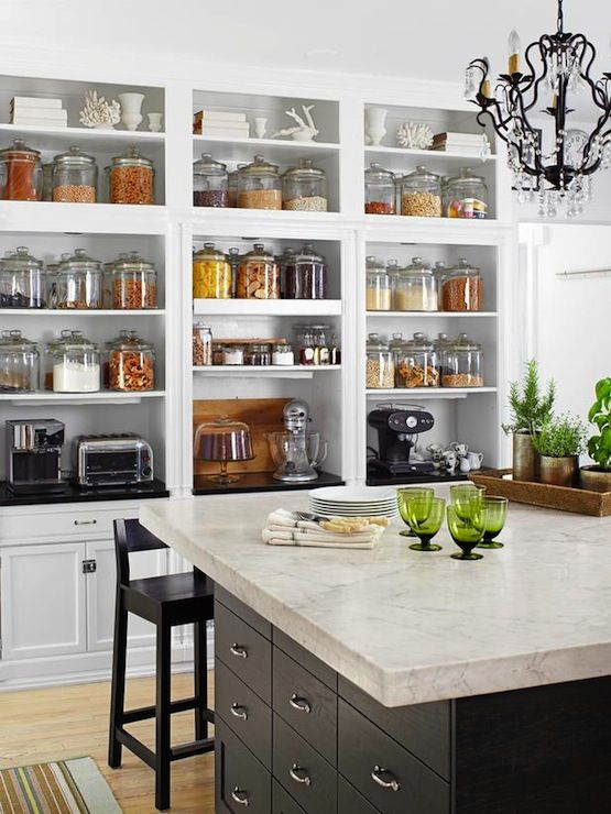 fantastic wall of built in open shelving for pantry staples and small kitchen appliances white on kitchen decor open shelves id=66793
