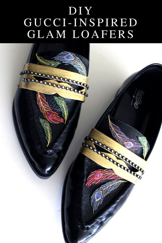 Refashion plain black loafers and make these glam Gucci Inspired shoes
