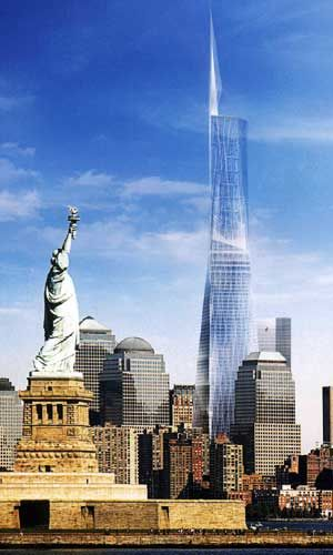 Freedom Tower designed by David Childs collaborating with Daniel Libeskind.