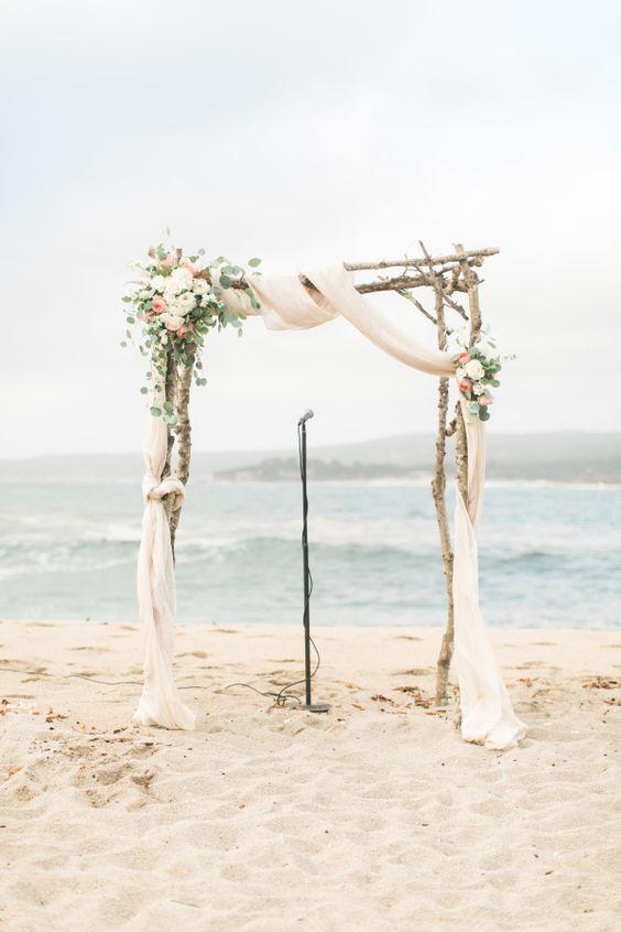 Beachy wedding ceremony arbor