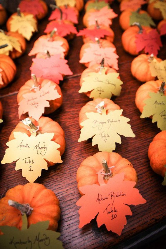 pumpkin inspired fall wedding place cards: