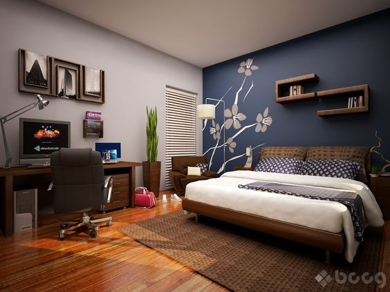 Paint the Walls Deep Blue Painted Bedroom with Gray Flower Decor Wall Gallery Floating Shelves Office Desk Indoor Plants