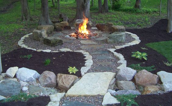 Awesome DIY Fire Pit with Camping Feel and Rock Seating