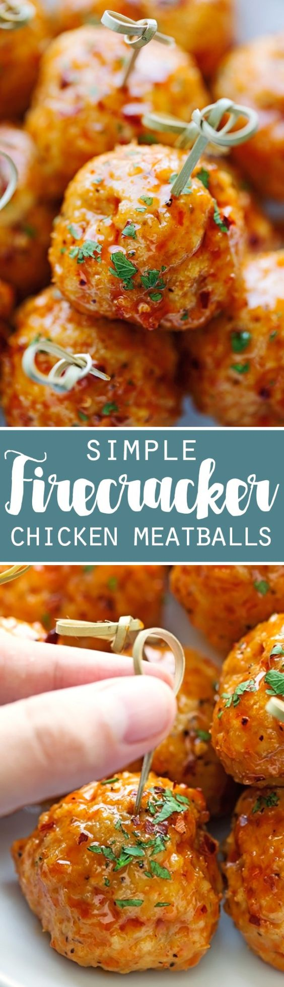 Firecracker Chicken Meatballs - These meatballs are made with chicken and taste like firecracker chicken! Easy to prepare and ready in about 30 minutes! via Little Spice Jar