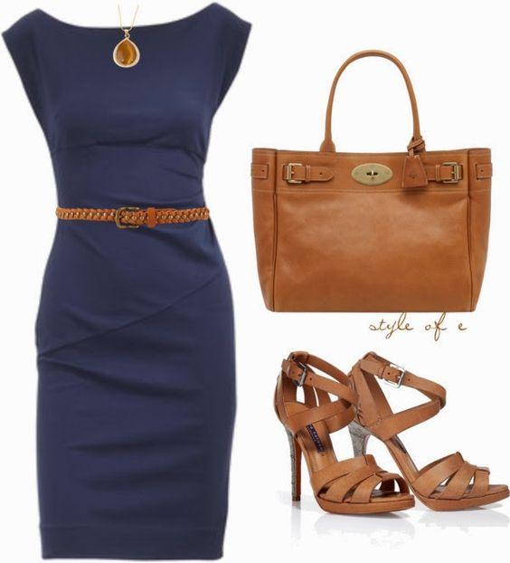Work Outfits | Navy DVF Dress Diane von furstenberg dress, RALPH LAUREN sandals, Bayswater bag, Stud Belt by styleofe: