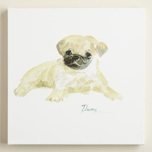 One of my favorite discoveries at WorldMarket.com: Watercolor Pug by Anna Dusza: