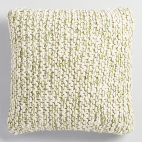 One of my favorite discoveries at WorldMarket.com: Green and Ivory Chunky Knit Throw Pillow: