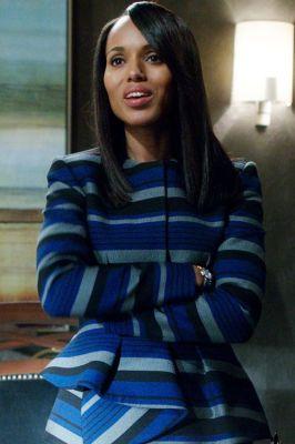 """Proenza Shouler"" striped blue/grey/black jacket worn by Olivia Pope (Kerry Washington) on Scandal, Season 4.:"