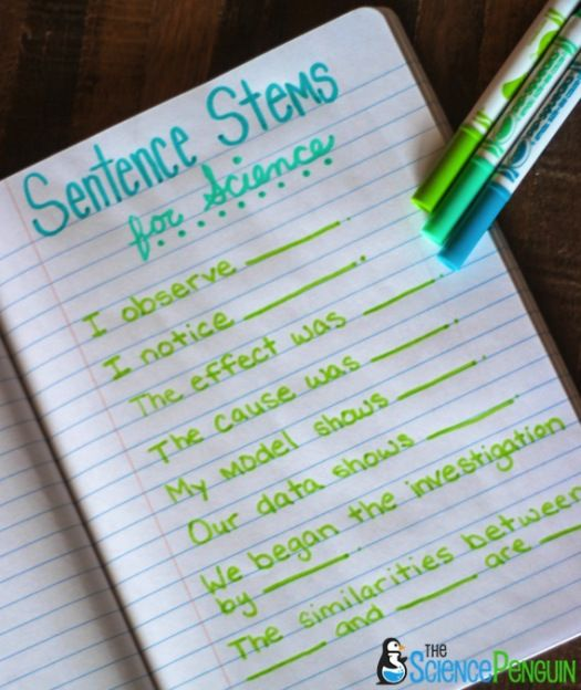 Science Sentence Stems for ELLs-- You can have some standard sentence stems that are used for many classroom activities, as well as sentence stems for particular activities.: