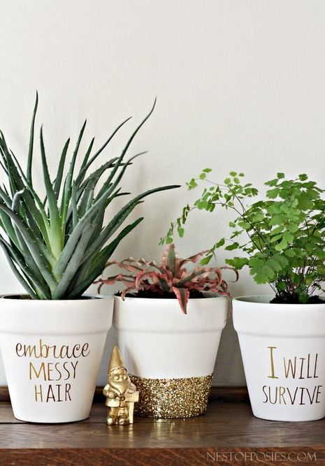 Planters for the Home Funny Pots Gold Glitter Gnome Embrace Messy Hair I Will Survive