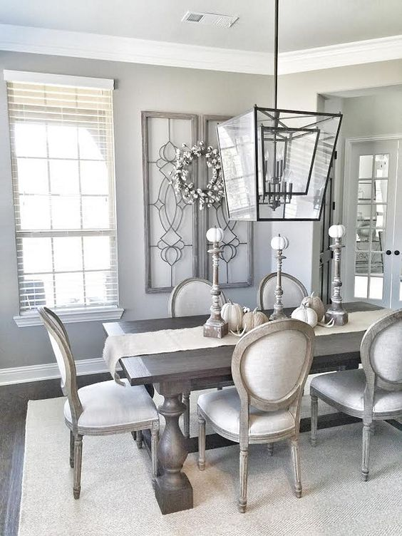 farmhouse dining room with a gorgeous chandelier!: