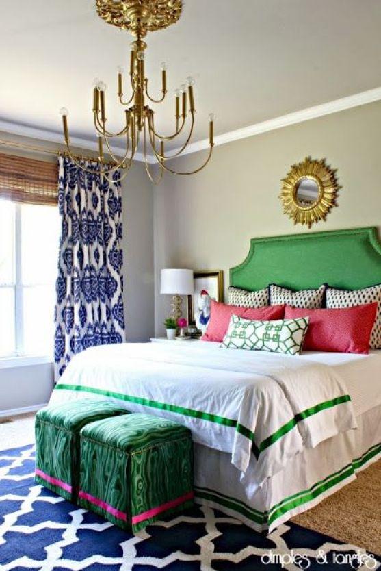 Green headboard bedroom chandelier sunburst mirror green border bedding bedskirt stools: