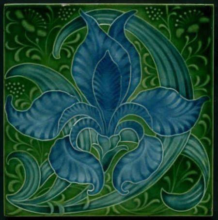 """Exotic Original Art Nouveau Tile, Produced by Pilkington's the Artist Was Lewis F. Day """"Iris"""" Tile, English, ca.1900.:"""