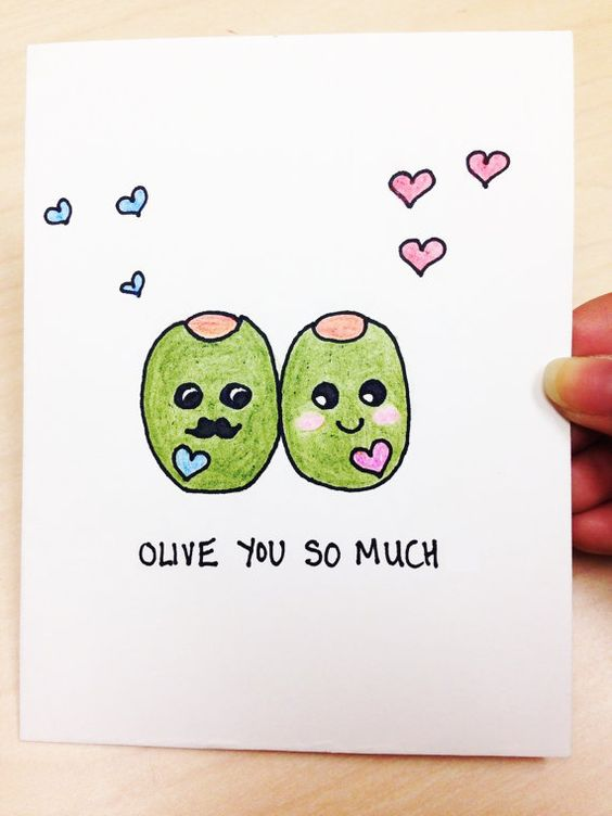Funny Valentine Card, Olive you so much, hand drawn just for your husband, boyfriend, wife or girlfriend. Its great for anniversaries, Valentines: